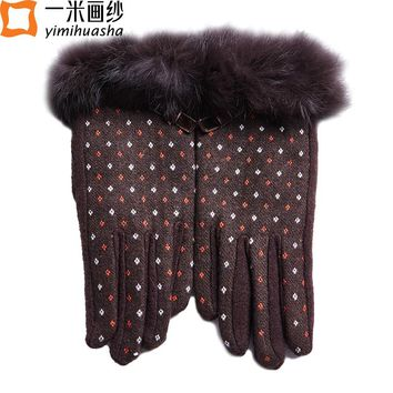 2017 winter fashion dot pattern female rabbit fur wrist full finger touch screen wool gloves mittens driving Thernal gloves