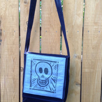 Handy Hip Bag Cross Body Shoulder Bag Smiling Skull Blue