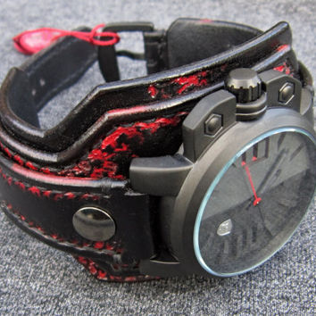 Salmon Shark 3D leather watch black and red
