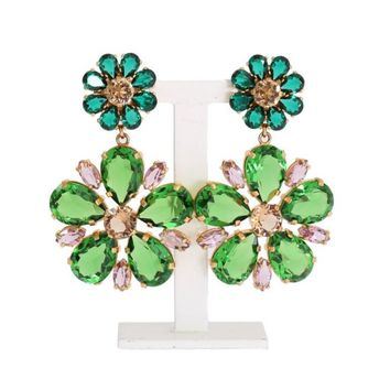 Dolce & Gabbana Gold Brass Green Floral Crystal Clip On Earrings