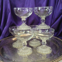 Berwick Bubble Glass Sherbets, Set of Six Anchor Hocking Mid Century Dessert Cups, Ball Stem, Crystal Glass, Elegant Dining Glassware