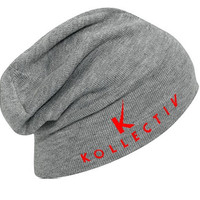 "Kollectiv ""K"" Acrylic Knit Slouch Beanie 12"" (H.Gry/Red)"