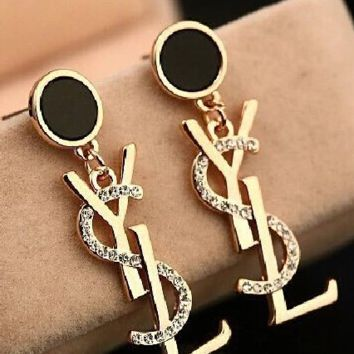 YSL FULL RHINESTONE LONG STYLE EARRINGS