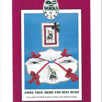 Alma Lynne's Works of Heart Pattern for Angel Christmas Tree Skirt & Mini Quilt, UNCUT, 1990, Christmas Pattern, Holiday, Vintage Pattern