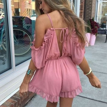 Summer Shoulder V-Neck Romper Dress
