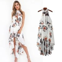 Bear Shoulder High Neck Open Front Irregular Print Dress
