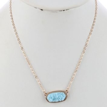 Aries Druzy Metal Frame Necklace