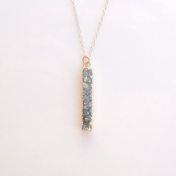 Druzy Bar Necklace in Sage Green - Vertical Bar - OOAK Jewelry