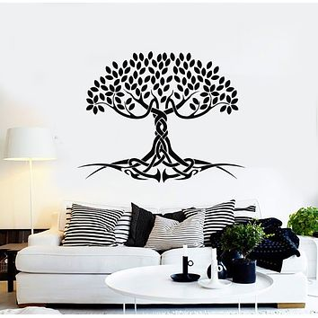 Vinyl Wall Decal Celtic Tree Of Life Roots Leaves Symbol Myth Stickers Mural (g1268)