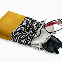 Double Pockets Glasses Case, Eyeglasses Case Double Pockets, Sunglasses / Reading Case, Yellow and Black Kiss Lock Case, Silver Frame