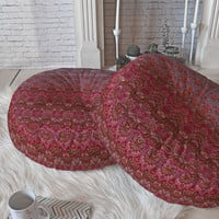 Aimee St Hill Farah Blooms Red Floor Pillow Round