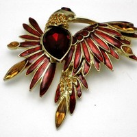 GRAZIANO  French Enamel Gold Plated Rhinestone Figural Bird of Paradise Brooch