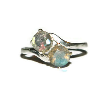 Labradorite Ring, Two Stone Ring, Middle Finger Ring