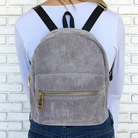 Mini Corduroy Backpack in Grey