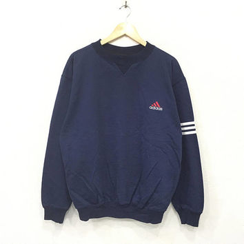 Rare!! Vintage 90's Adidas Small logo Trefoil Stripes Sweatshirt Pullover Jumper Blue Colour HipHop Swag Large Size