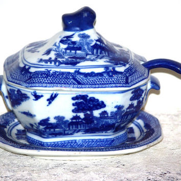 Willow Ware Blue and White Ironstone Gravy Bowl with Lid, Underplate and Spoon