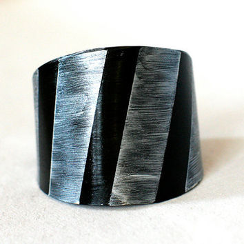 Recycled record Statement Bracelet cuff handcut unique painted vinyl plastic black silver