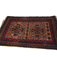 Vintage Persian Wool Area Rug Hand Knotted 50 in X 31 in