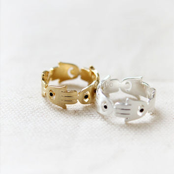 Hamsa Hand ring/ choose your color, gold and silver