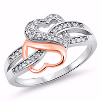 Sterling Silver Rose Gold-Tone Plated CZ Simulated Diamond Two Hearts Ring 12MM