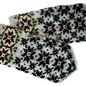 Hand knitted wool mittens Knitted winter gloves Warm mittens Patterned mittens Latvian mittens Knit wool gloves Scandinavian ethnic style
