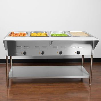 Food Warmer Steamer Four Pan Open Well Electric Steam Table with Under shelf - 120V, 2000W