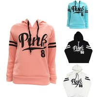 2017 Women Pink Hoodies Women Hip Hop Vs Pink Sweatshirt Pullovers Casual Kpop Streetwear Sweatshirt Moletom Love Pink P05 Z20