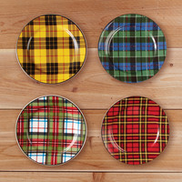 Plaid Salad Plates Set