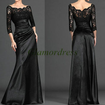 unique long black lace and satin evening prom dresses / elegant stunning 3/4 sleeves gowns for party / cheap custom evening dress on sale