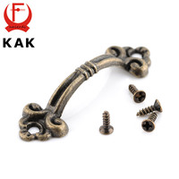 10pcs KAK Handles Knobs Pendants Flowers For Drawer Wooden Jewelry Box Furniture Hardware Bronze Tone Handle Cabinet Pulls