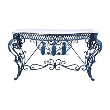 Pre-owned Blue Wrought Iron and Marble Console