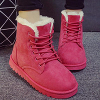 2016 New Warm Winter Boots For Women Ankle Boots Waterproof Snow Girls Boots Female Shoes Suede with Plush Insole Botas Mujer Red