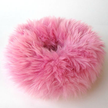 90s Clueless Kawaii Pink Furry Scrunchie, Fluffy Cherry Blossom Pink Faux Fur Hair Scrunchie, Hair band, Ponytail Holder, Winter Gift