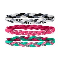 Under Armour Women's Braided Mini Headbands (3-Pack), Black/White/Emerald Lake, One Size fits All