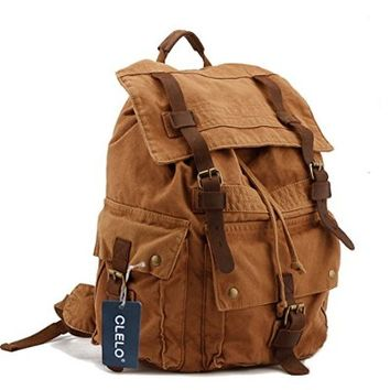 CLELO Vintage Canvas Leather Hiking Travel Backpack Tote Bag Fit 17 Inch Laptop