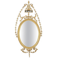 Fine English Hepplewhite Period Carved Giltwood Oval Mirror, circa 1770