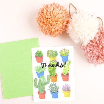 Hand Painted Succulent Cactus Blank Thank you card template digital printable instant download file fun garden blank greeting card