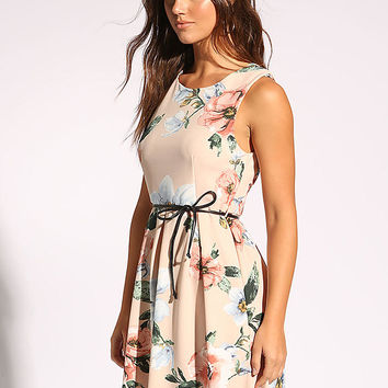 Blush Floral Belted Flared Dress