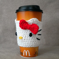 PATTERN: Hello Kitty inspired Crocheted Coffee Cozy