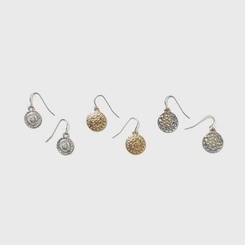 Textured Disc Drop Earrings - View All New In - New In