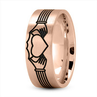 Wedding Band - Claddagh Mens Ring with Black Rhodium in Rose Gold