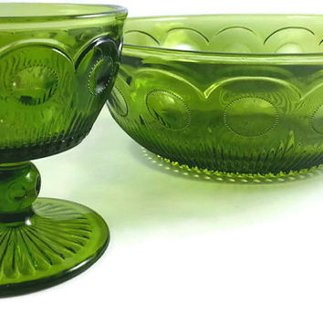 Green Glass Salad Bowl and Sherbert Dish, Chips and Dip Set, Vintage Bartlett Collins, Manhattan EAPG, Bullseye Cane, Holiday Dishes