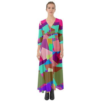 Colorful Squares Button Up Boho Maxi Dress