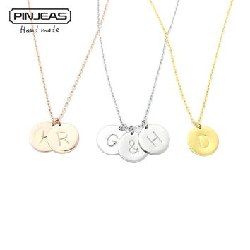 PINJEAS Custom Handmade Charm  Choker Necklace&Pendant Disc Initial Letter Monogram Circle Personalized Birthday Gift for women