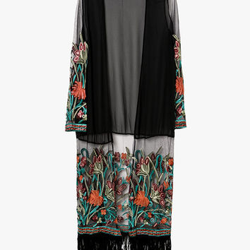 Embroidered Floral Fringed Kimono Cardigan