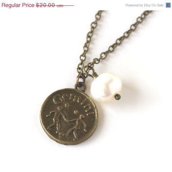 VALENTINES DAY SALE Gemini astrology zodiac star sign charm and white pearl antique bronze necklace