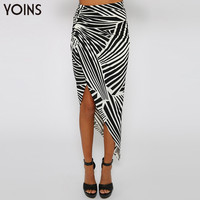 YOINS New Fashion Women High Waist Asymmetric Draped Sexy Midi Length Skirt in Zebra Pattern Summer Saia Feminino with Print
