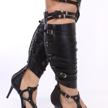 Black Single Sole Gladiator Heels Faux Leather *Celebrity Style Inspired By Rihanna*