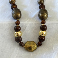 HandCrafted One of a Kind  Antique Gold and Tiger Eye Necklace and Earring Duo