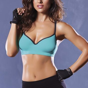 Seven Til Midnight Strike Strappy Back Sports Bra Black/Green